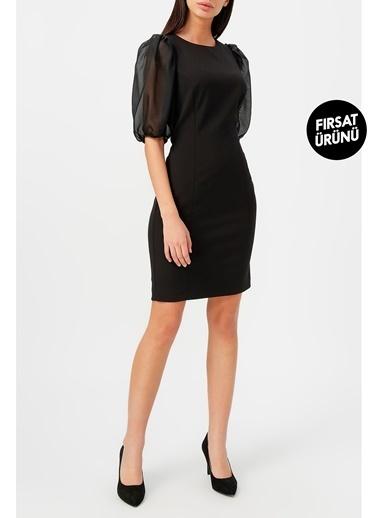 Random Kadın Balon Kol Yuvarlak Yaka Elbise Siyah